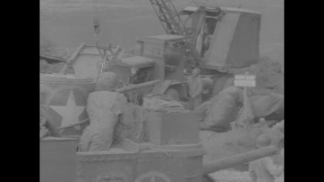 four shots of tanks crossing volturno river on pontoon bridge / truck drives across river / note exact day not known - pontoon bridge stock videos and b-roll footage