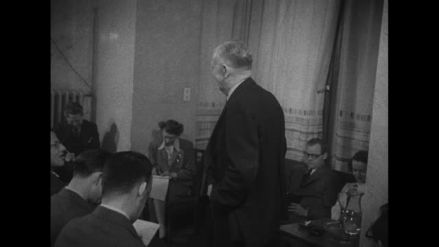four shots of us secretary of state george marshall standing and speaking at conference to reporters / people in crowd outside / officials sitting at... - vyacheslav m. molotov stock videos and b-roll footage