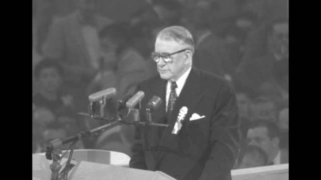 four shots of us vice president barkley standing at rostrum during his address at the democratic national convention at the international... - alben w. barkley stock videos and b-roll footage