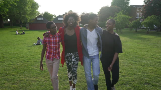Four siblings together walking in the park