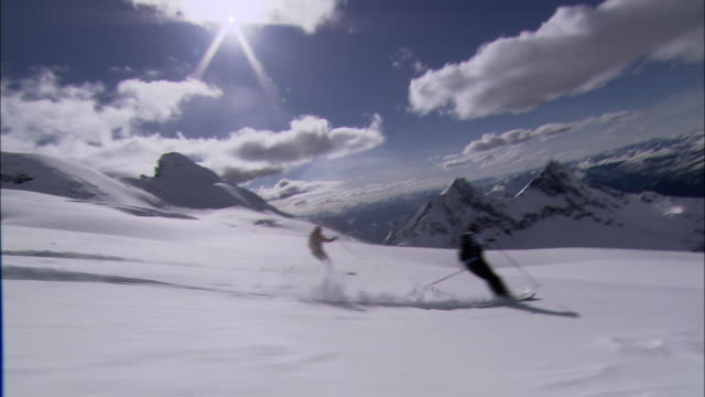 WS, PAN, Four skiers gliding down mountainside, Cariboo and Monashee Mountains, British Columbia, Canada
