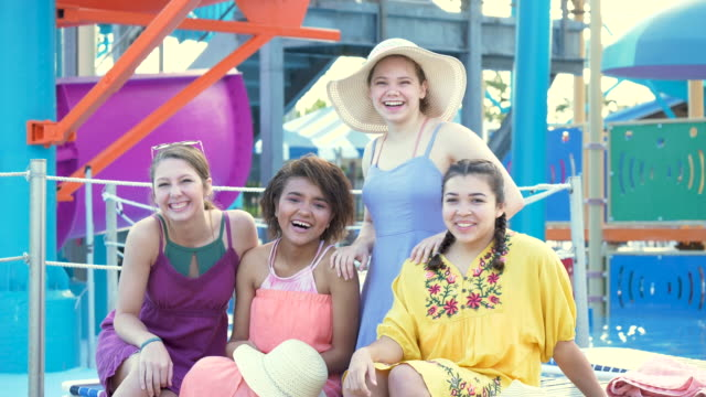 four teenage girls, best friends at water park - 14 15 years stock videos & royalty-free footage