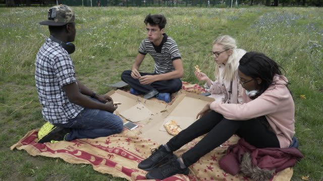 four teens together eating pizza in the park. - 18 19 years stock videos & royalty-free footage