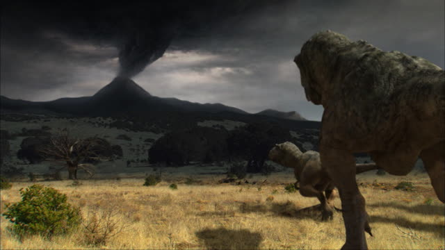CGI, MS, Four Tyrannosaurus rexes walking in field toward erupting volcano, rear view