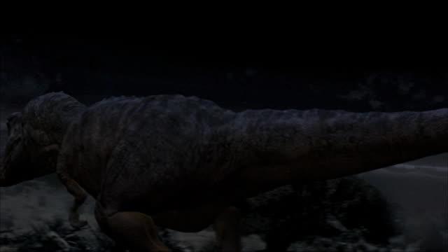 CGI, MS, PAN, Four Tyrannosaurus rexes walking in volcanic landscape, rear view