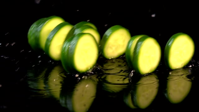 Four videos of falling cucumber in real slow motion