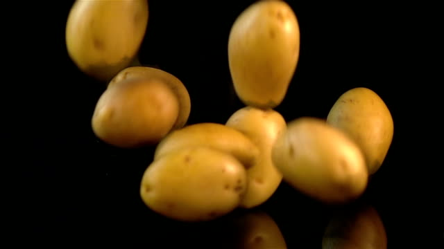 four videos of falling potatoes in real slow motion - raw potato stock videos & royalty-free footage