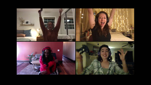 four women celebrate win playing multiplayer video game together on a video call - alpha channel stock videos & royalty-free footage