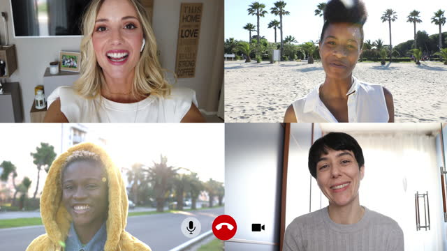 four women friends in video conference from different side of the world - four people stock videos & royalty-free footage