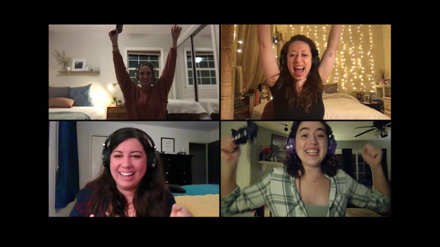 four women play multiplayer video games together on a video call - alpha channel stock videos & royalty-free footage