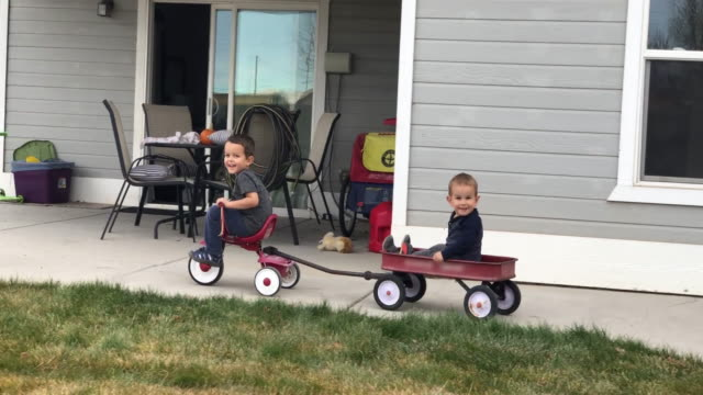 a four year-old caucasian boy pulls his brother in a wagon with a tricycle in a residential backyard - cart stock videos & royalty-free footage