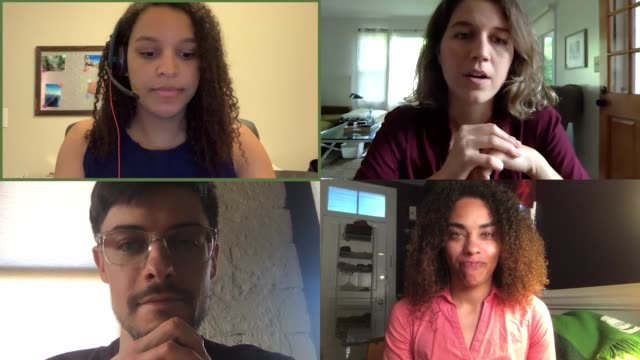 four young business colleagues have a brainstorming discussion - brainstorming stock videos & royalty-free footage