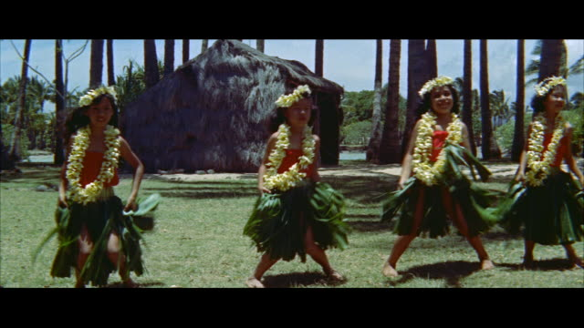 ms four young girls doing hula / honolulu, hawaii, united states - hawaiianische kultur stock-videos und b-roll-filmmaterial