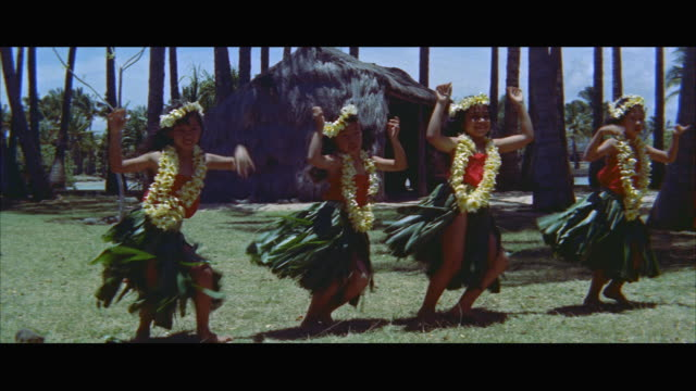 ms four young girls doing hula / honolulu, hawaii, united states - kranz stock-videos und b-roll-filmmaterial