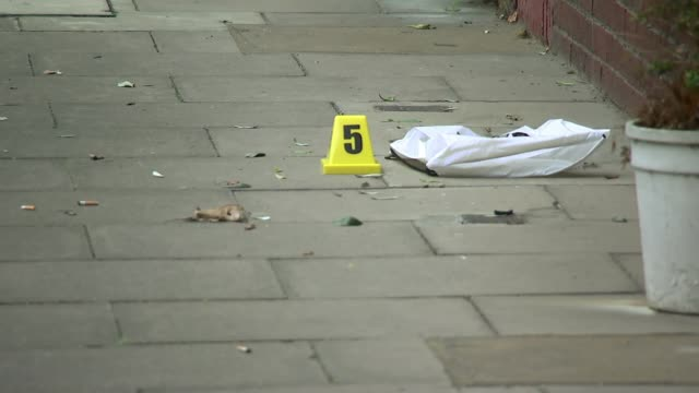 Four young men stabbed to death in London on New Year's Eve ENGLAND London Near Old Street EXT Forensic officer crouching down on ground looking at...