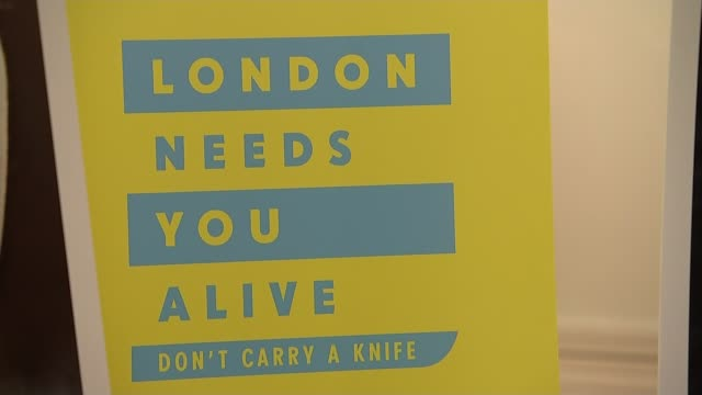 Four young men stabbed to death in London on New Year's Eve T15111710 / TX INT Sign 'London needs you alive don't carry a knife' at event to launch...