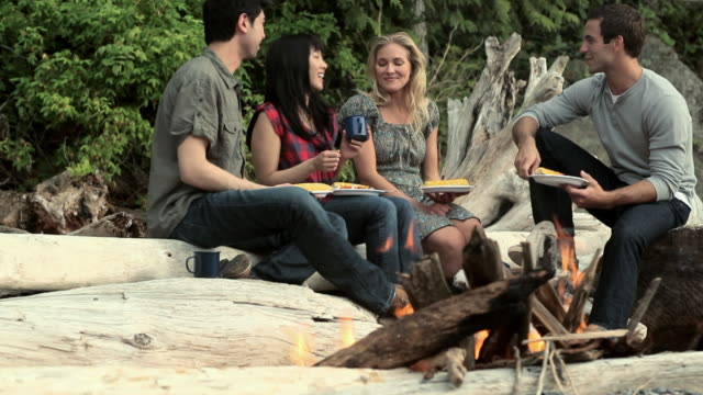 Four young people around a campfire