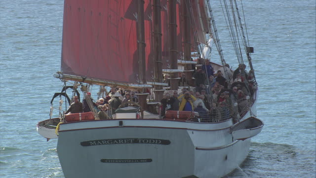 aerial four-masted schooner in full sail with fore and aft rigging and orange sails, passengers in seats lining the taffrails / bar harbor, maine, united states - bar点の映像素材/bロール