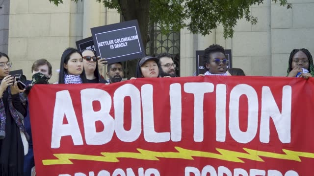 fourth annual anti-christopher columbus day youth rally and march. activist from 'decolonize this place' and nyc student youth rallied at the... - fourth occurrence stock videos & royalty-free footage