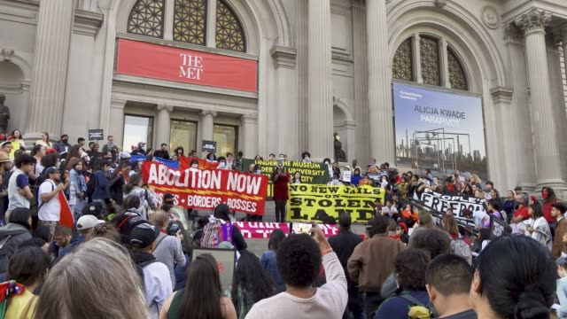 fourth annual antichristopher columbus day youth rally and march activist from 'decolonize this place' and nyc student youth rallied at the american... - {{relatedsearchurl('capsule pipeline')}} stock videos and b-roll footage