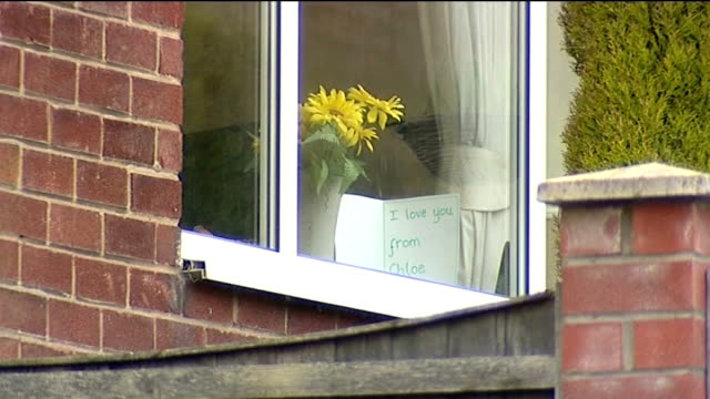 fouryearold girl found dead at her mother's house in bury ext card made by cloe burke seen through window of house with message 'i love you' - i love you stock videos & royalty-free footage