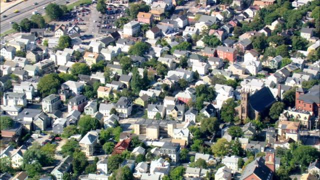vidéos et rushes de renard district-vue aérienne de rhode island, providence county, états-unis - rhode island