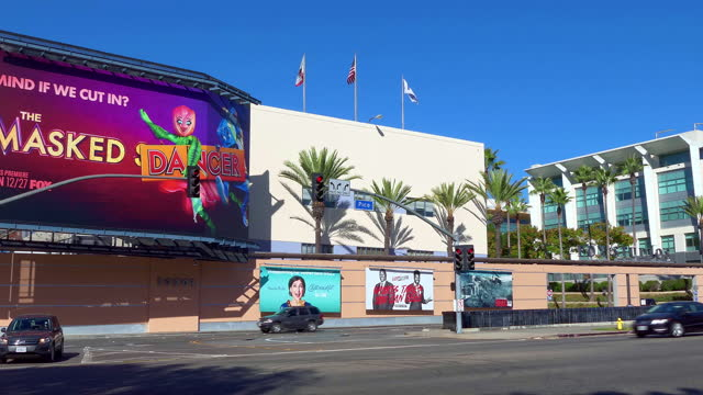 fox motion picture movie studios with cinema entertainment billboards in century city, los angeles, california, 4k - academy of motion picture arts and sciences stock videos & royalty-free footage