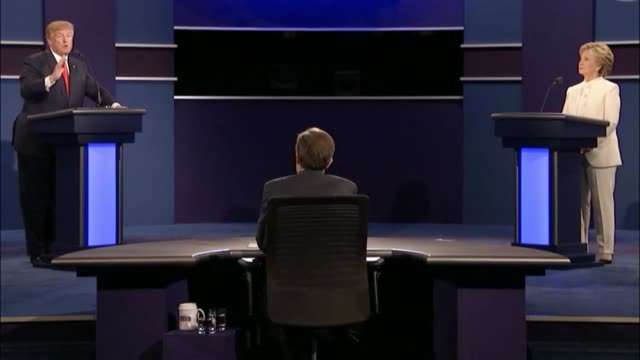fox news sunday anchor chris wallace asks democratic party presidential candidate hillary clinton and republican party presidential candidate donald... - debate stock videos & royalty-free footage