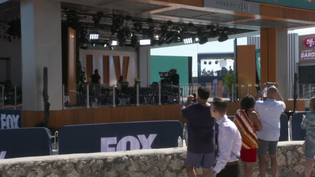 fox sports live set at the fox sports compound at lummus park on january 29, 2020 in miami beach, florida. - television show stock videos & royalty-free footage