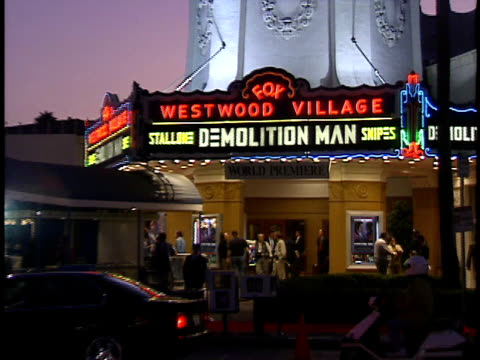 fox westwood village marquee and scene at premiere. - westwood village stock videos & royalty-free footage