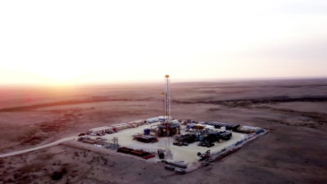 Fracking Drilling Rig at Dusk or Dawn