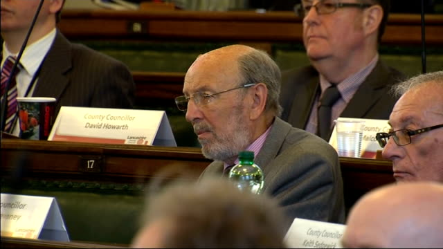 Fracking Lanacashire Council meeting ENGLAND Lancashire County Council INT Council Chairman addressing meeting and councillors voting to defer...
