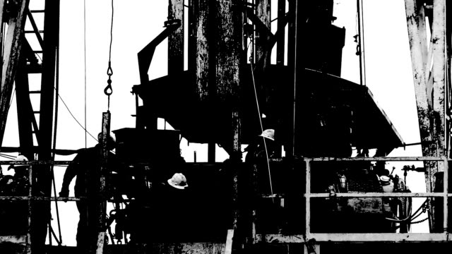 fracking rig black and white - groundwater stock videos and b-roll footage
