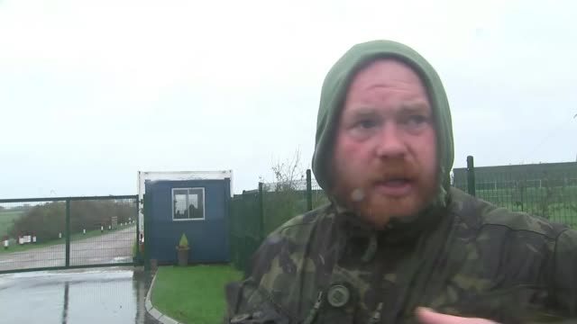 fracking site in lancashire delayed as protests continue; england: lancashire: vox pops anti-fracking protesters - protesta anti fracking video stock e b–roll