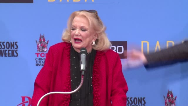 frail but radiant gena rowlands made famous for her roles in her husband john cassavetes films left her handprints in front of the historic hollywood... - tlc chinese theater bildbanksvideor och videomaterial från bakom kulisserna