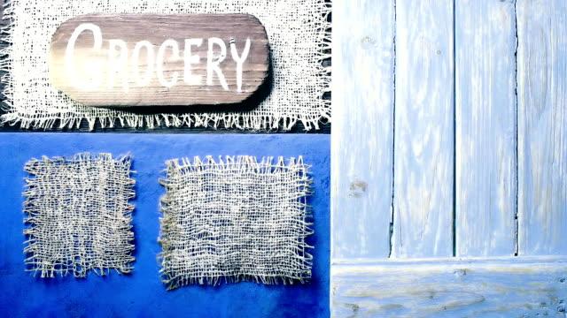 青い木や黄麻布のフレーム - 飾り板点の映像素材/bロール