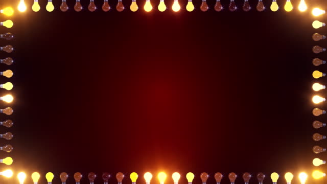 frame of lights border with copy space in center gold and red - blinking stock videos & royalty-free footage