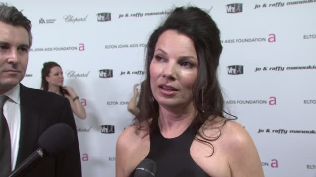 Fran Drescher on Elton's charity and why it is important for celebrities to make people aware of the problem at the 17th Annual Elton John AIDS...
