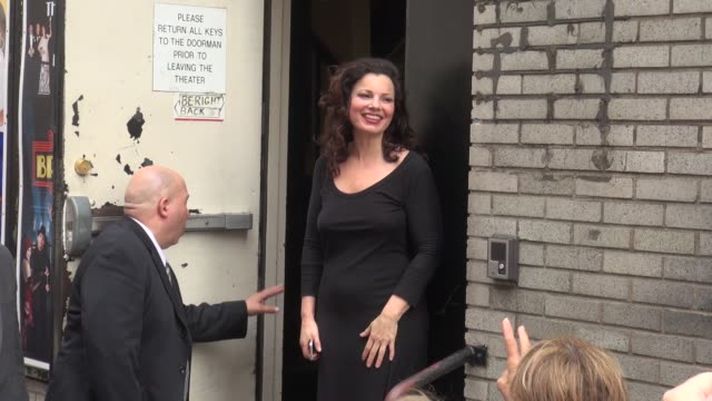 Fran Drescher waves to fans outside of the Broadway Theater for her Broadway play Cinderella in Celebrity Sightings in New York