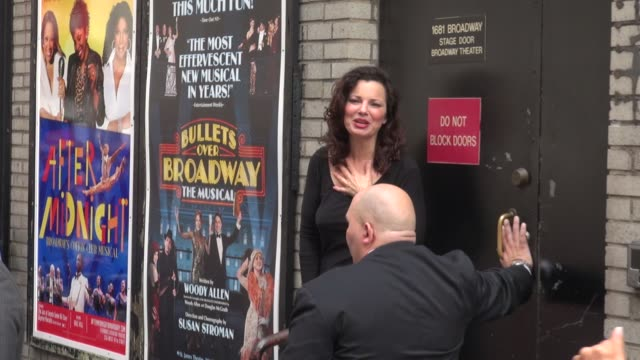 Fran Drescher waves to fans outside of the Broadway Theater for her Broadway play Cinderella before leaving in Celebrity Sightings in New York