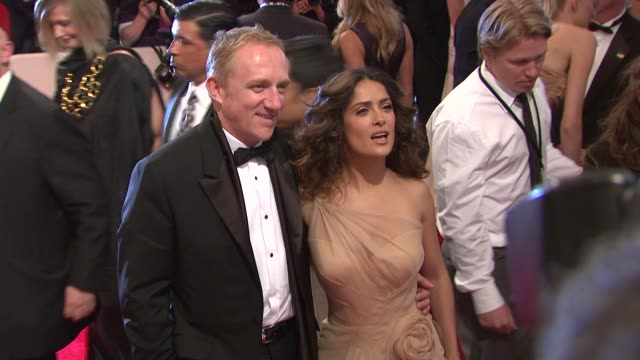 fran_ois-henri pinault and salma hayek at the 'alexander mcqueen: savage beauty' costume institute gala at the metropolitan museum of art at new york... - gala stock videos & royalty-free footage