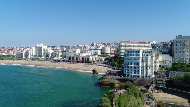 vidéos et rushes de france, aerial view of biarritz - aquitaine