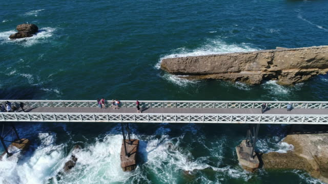 france, aerial view of biarritz - footbridge stock videos & royalty-free footage