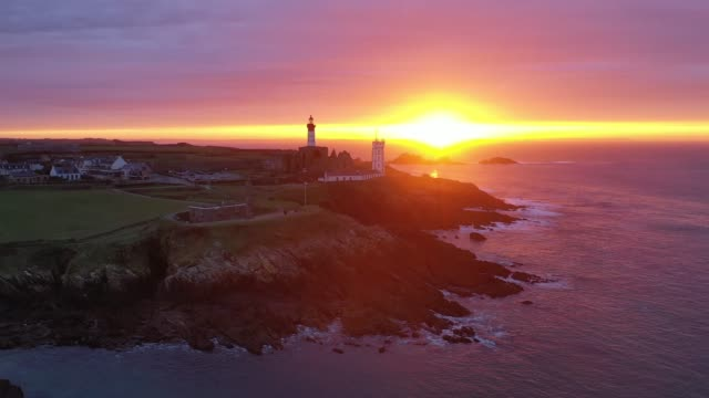 vidéos et rushes de france and bretagne from the sky : the pointe saint-mathieu at sunrise - phare