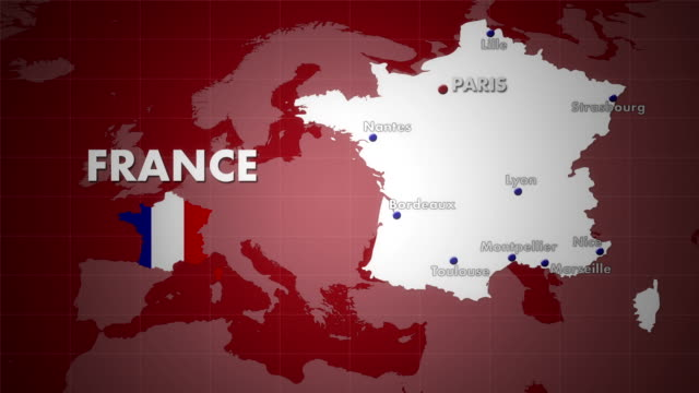 hd france animation - 3 versions red background - france stock videos & royalty-free footage