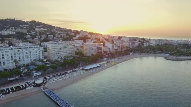France, Cannes, Aerial view over the croisette at sunrise