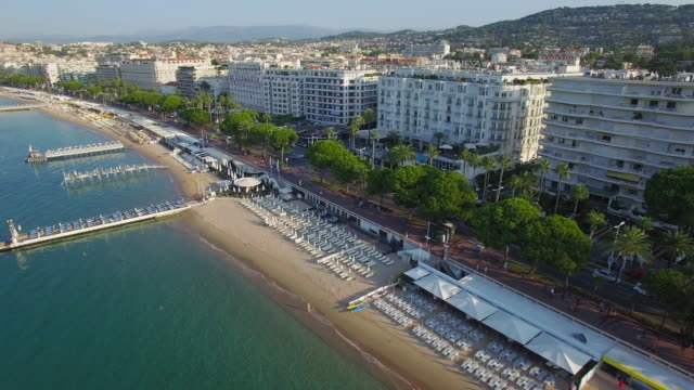 france, cannes, aerial view over the croisette - cannes stock videos & royalty-free footage