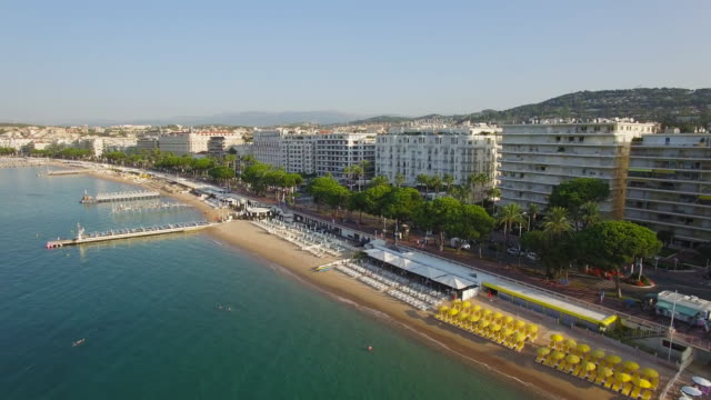 france, cannes, aerial view over the croisette - cote d'azur stock videos & royalty-free footage