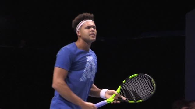 france captain yannick noah selected jo wilfried tsonga lucas pouille richard gasquet and pierre hugues herbert to face belgium in the davis cup... - davis cup stock videos & royalty-free footage