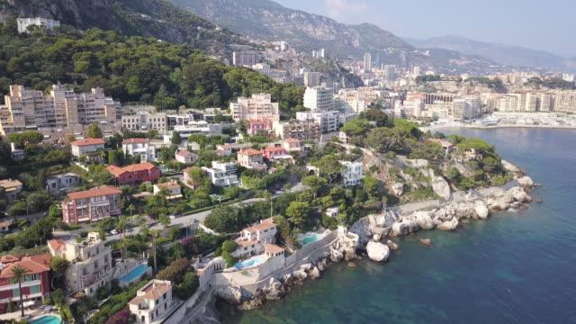 vídeos de stock e filmes b-roll de france city coastline, aerial - frança